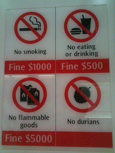 Singapore no durians sign