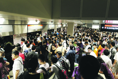 Crowded MRT station in Singapore